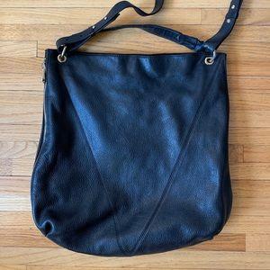 Pour La Victoire Large Black Leather Hobo Handbag